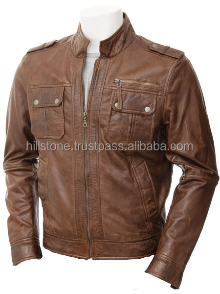 Mens Leather Winter Brown leather Jacket From Wholesale Clothing Factory