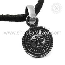 High Oxidized Handmade Silver Jewelry Sun Pendant 925 Silver Jewelry Supplier