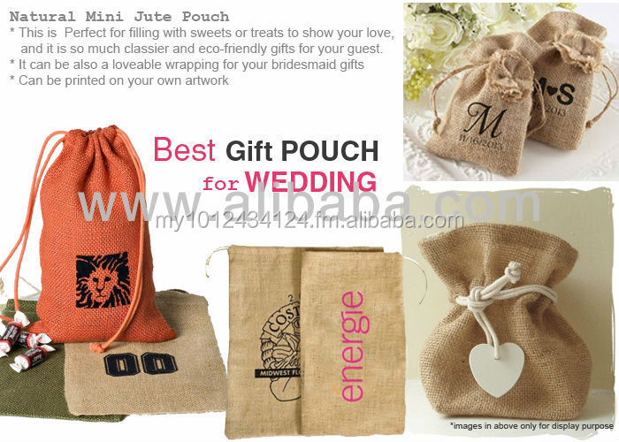 Jute Drawstring Pouch - Wedding or Event