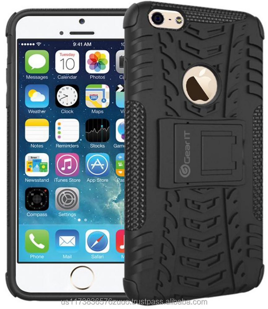TRAC Armor Hybrid Dual TPU/PC Layer Rugged Case Cover with Kickstand Shock absorbent GearIt Made for iPhone 6 6s (Black)