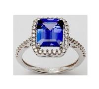 Diamond Studded Pretty Sleek Tanzanite Ring For Ladies