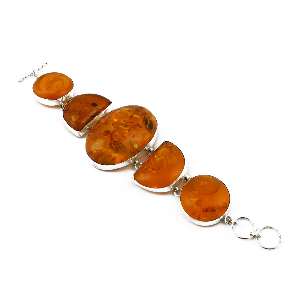 Beautiful Natural Amber 925 Silver Sterling Silver Gemstone Bracelet, Indian Jewelry Manufacturer, 925 Sterling Silver Jewelry