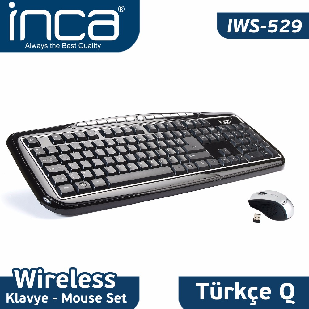 INCA IWS-529 2.4 Ghz Wireless Nano Super Cosy Keyboard-Mouse Series (Piano-Black)