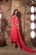 Georgette Salwar Kameez Semi Stitched Salwar Kameez Long Sleeve Straight Cut Salwar Kameez Catalogue Wholesaler