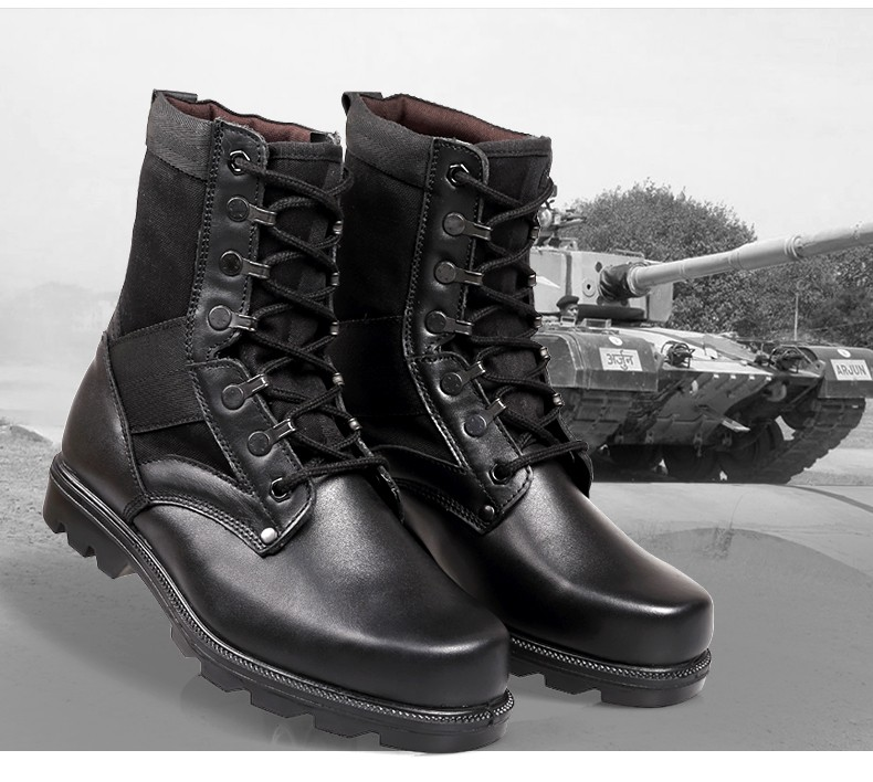Wholesale Fashion Black leather military boots Outdoor Military Tactical Men Boots