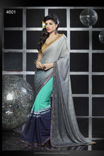 Georgette Fabric Of Saree With Art Fabric Of Blouse With Lace Broder/Gota Lace Border