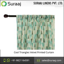 Colored Designed Cool Triangles Velvet Printed Curtain at Wholesale Rate