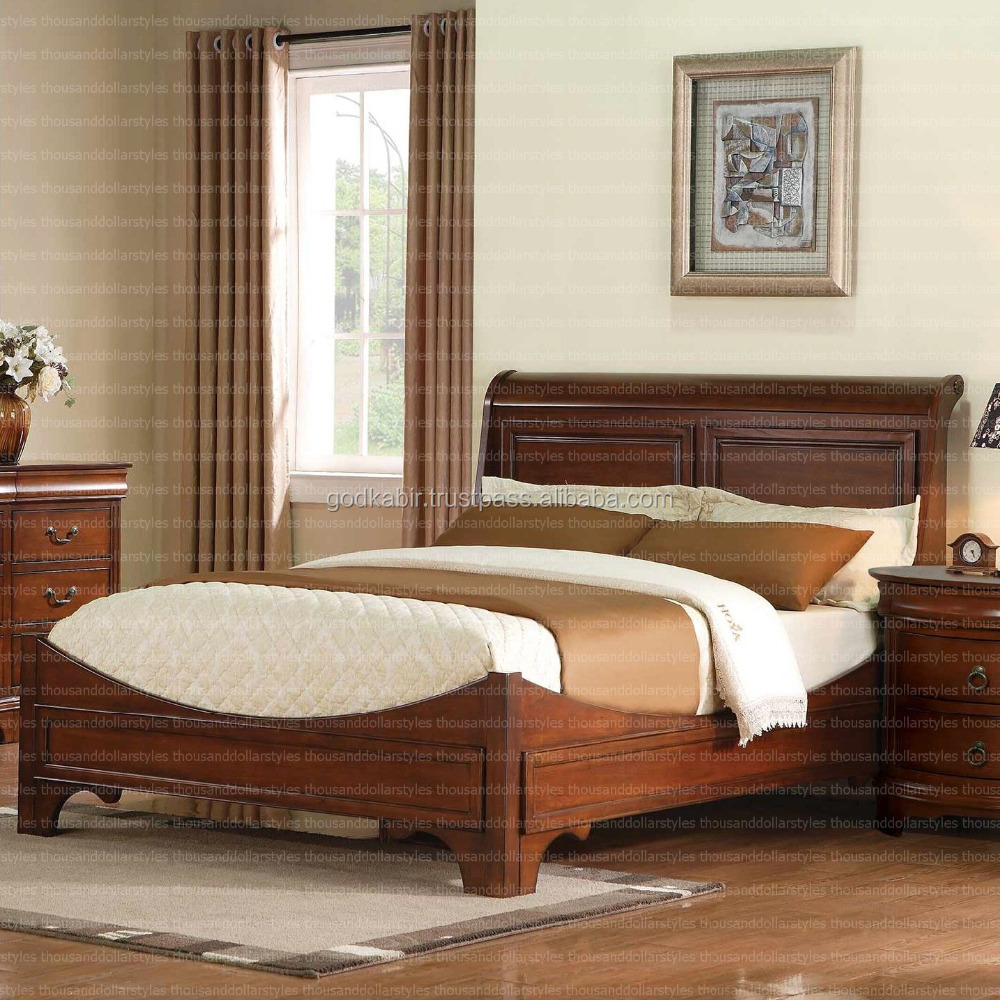 Beautiful Indian style Cheery Veneer And Solid Hardwood, Concave, Curved Renaissance Sleigh Bed.