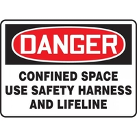 "Accuform MCSP170VA, 14"" x 20"" Aluminum Sign: ""Confined Space Use Safety Harness..."""
