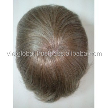 High quality natural grey hair wigs cheap toupee for men