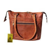 RUGGED CHIC DISTRESSED LEATHER WOMEN TOTE BAG