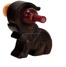 Elephant Shaped Single Wine Bottle Holder Tabletop Wine Racks 10 x 3 Inch DIA Handcarved ( FREE SHIPPING )