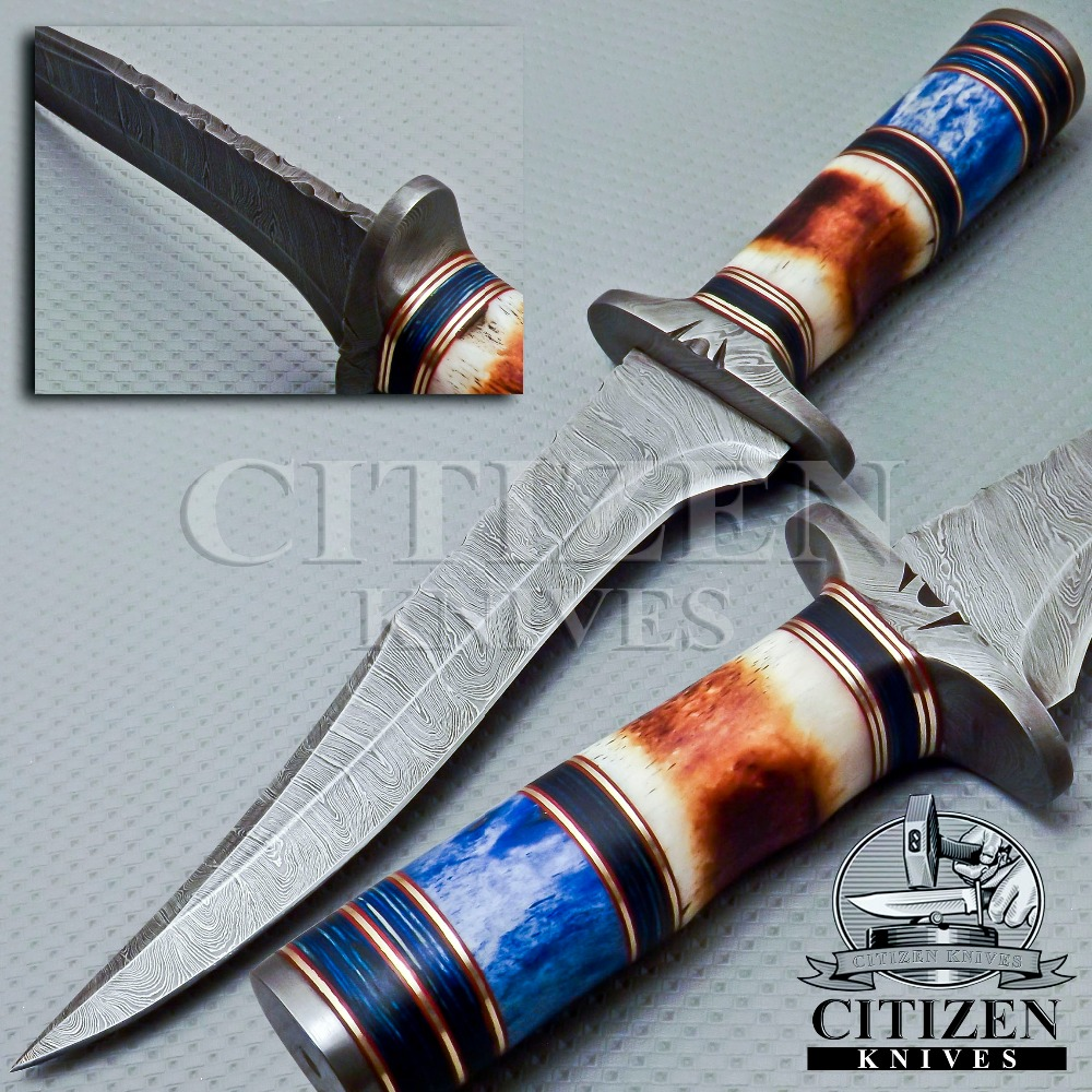 CITIZEN KNIVES, BEAUTIFUL CUSTOM HAND MADE DAMASCUS STEEL HUNTING KNIFE