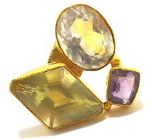 gold plated Multi Stone Color Ring
