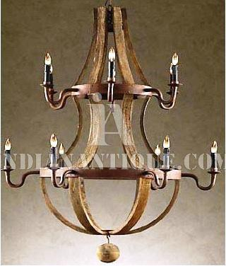 EXCLUSIVE DECORATIVE INDIAN INDUSTRIAL PENDENT CHANDELIER MADE OF BAND SAW TEXTURE MANGO WOOD IL -46