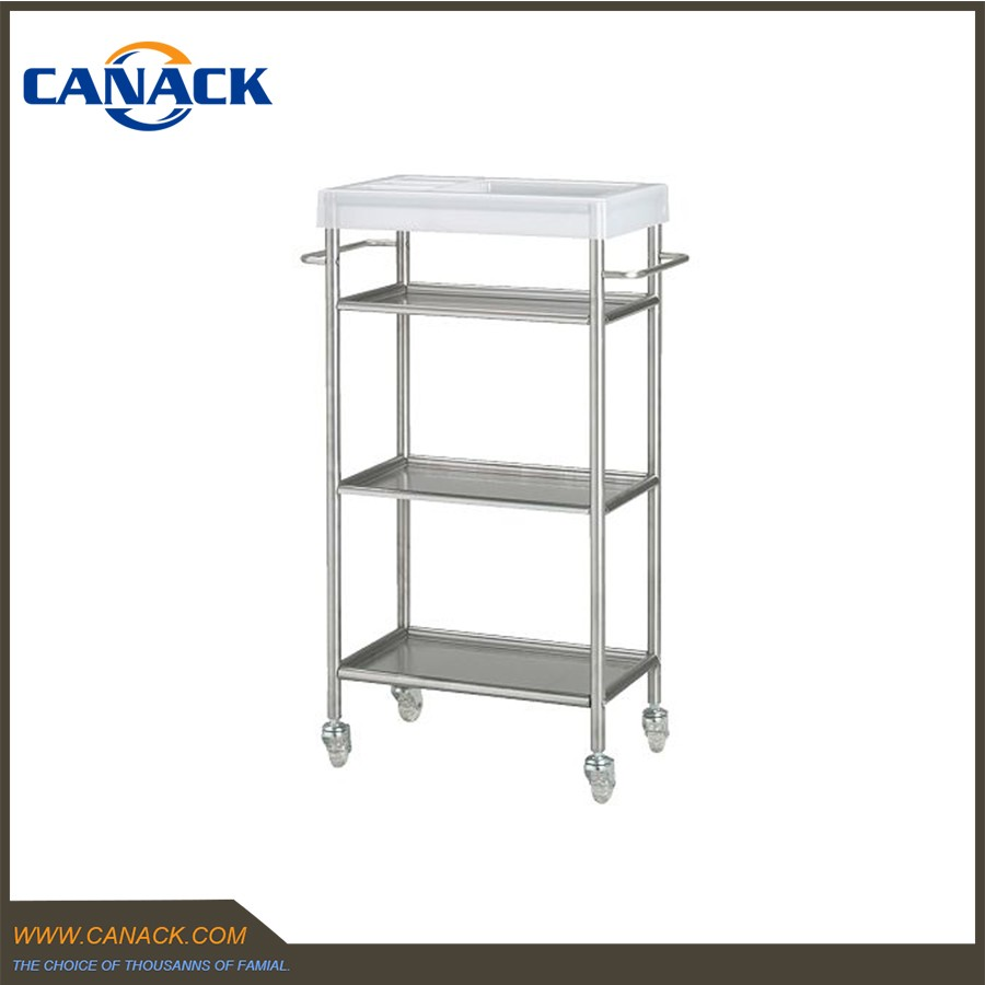 Stainless Steel 3 Tier Bathroom Cart with Removable Shelf