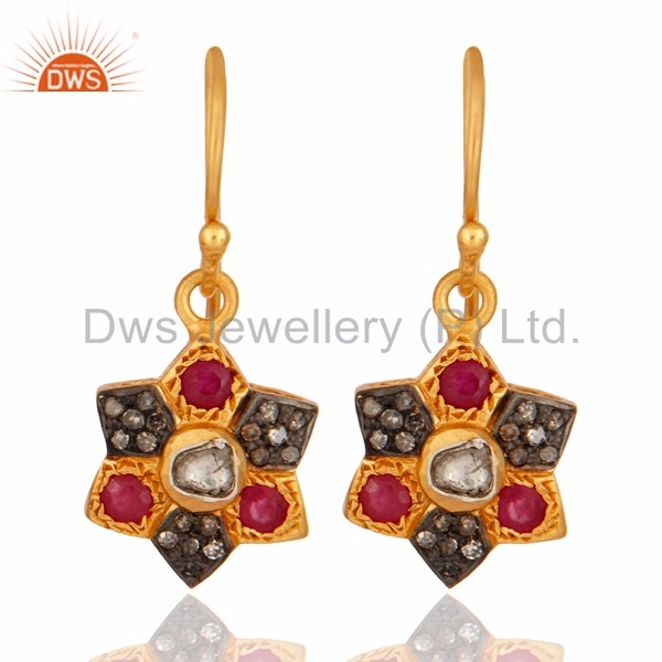 Wholesale Natural Ruby Gemstone Gold Plated Silver Earring Manufacturer of Pave Diamond Drop Earrings Jewelry