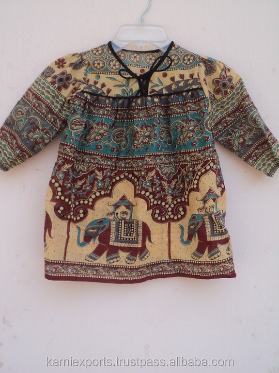 Classical Design Indian Bagru Pattern Printed Baby Kids Summer Wear Cotton Blouse & Dress