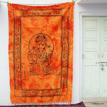 Handmade indian religious lord ganesha printed hippie wall hanging tapestries wholesale tie dyed tapestry