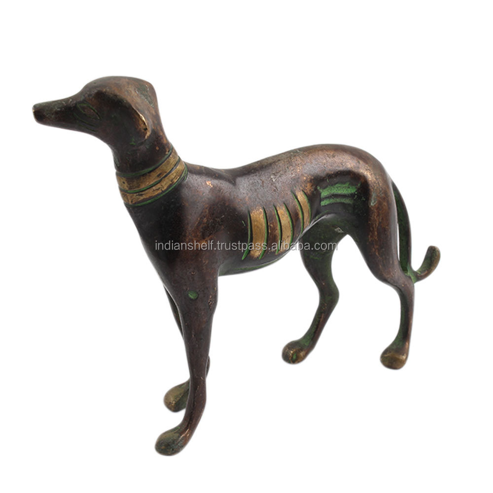 Handmade Brass Bronze Vintage Greyhound Dog Statue SMG-267