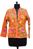 Hand Embroidered Floral Printed Vintage Kantha Jacket Reversible Ladies Fashion Wholesale Indian Cotton Quilted Jacket for Women