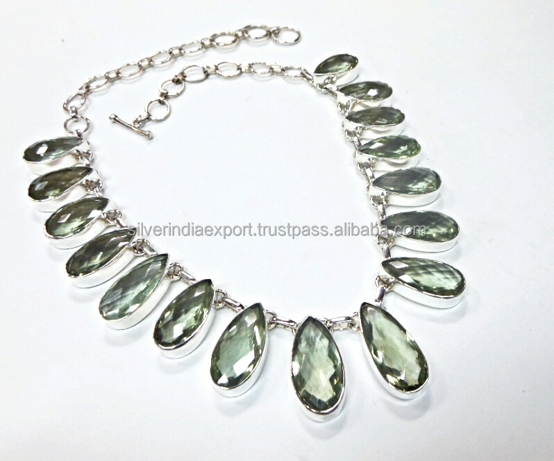 Green amethyst 925 sterling silver necklace