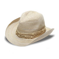 WESTERN/FEDORA SUN HAT- CREAM AND GOLD