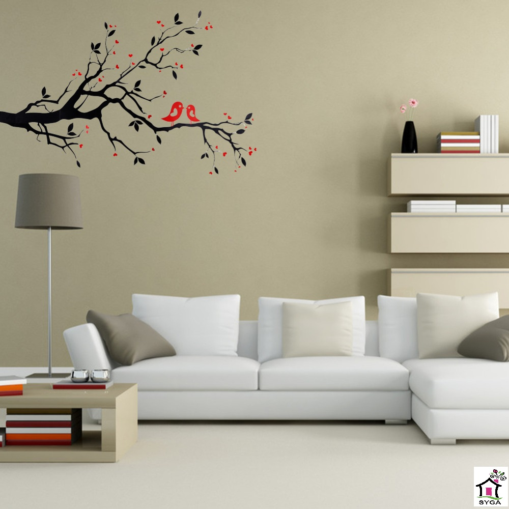 SYGA RED LOVE BIRDS ON DECORATIVE BRANCH WALL STICKERS