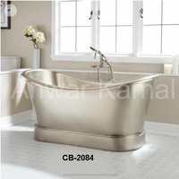Extra Wide Macy Hammered Copper Double Slipper Nickle Interior Cooper Bath Tub