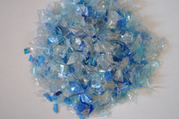 PET bottle flakes post production waste / scrap light blu clean