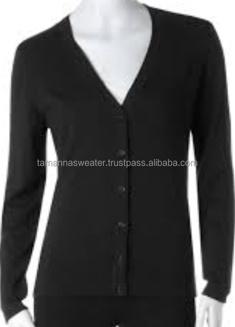 LADIES SWEATER- BASIC FINE KNITTED CASUAL BUTTON CARDIGAN SWEATER
