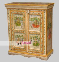wooden mango wood hand painted painting cabinet small cupboard kids furniture