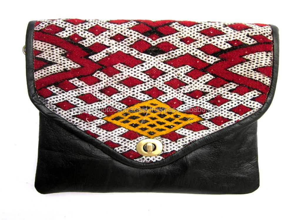 Dazzling Moroccan Handmade Genuine Leather And Kilim Clutch Bag