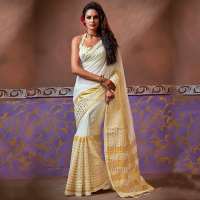 Buy Off White Handloom Cotton Silk Sarees Online