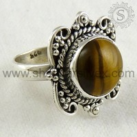 Indian Handmade Silver Jewelry, Traditional Ethnic Bridal Silver Ring, Tiger Eye 925 Silver Ring Jewelry RNCB1016-4