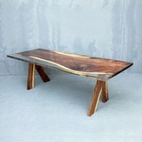 acacia wood with clear cast dining table