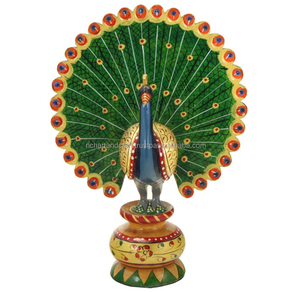 Peacock Statue India Rich Arts And Crafts Handmade Handicraft Murti Sculpture India Carving Bird watching Hand Paited