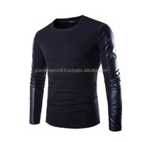 Pu Leather Sleeve T Shirt Mens Clothing Autumn Black T-Shirt Men Stylish Casual Slim Fit Long Sleeve Splice T Shirts