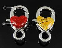 Zinc Alloy Lobster Clasp Heart plated Customized & enamel more colors for choice nickel lead & cadmium free 26x12x7.5mmm Hole:A