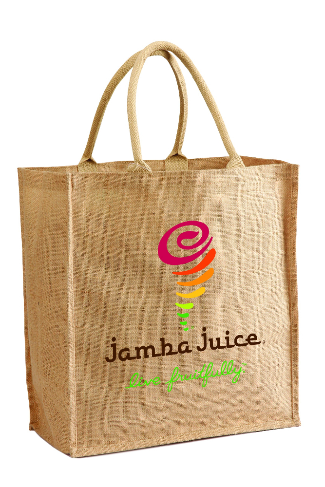 Eco-Friendly Jute Shopping Tote Bag - features shoulder length cotton webbed handles and comes with your logo.