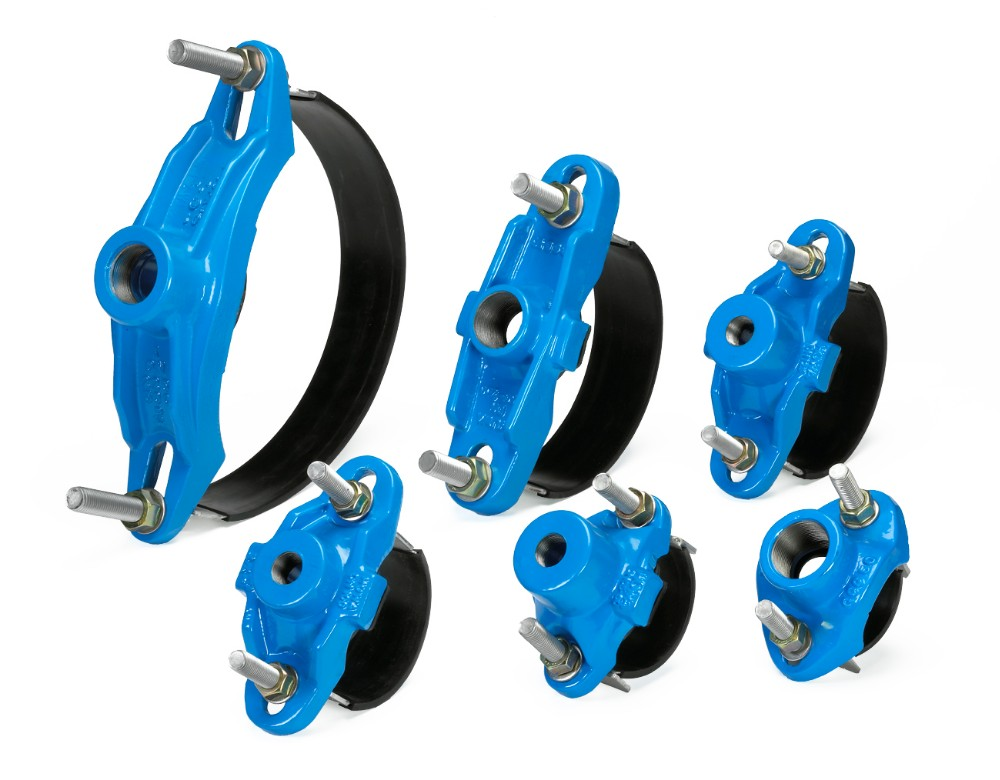 Ductile iron strap pipe saddles clamp view cast