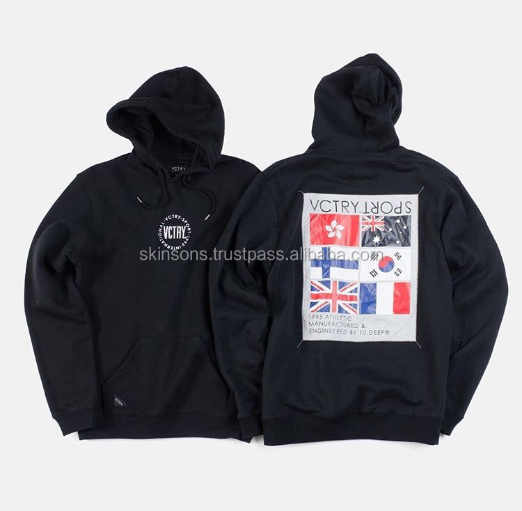 Embroidery Patches Cotton Black Hoodie