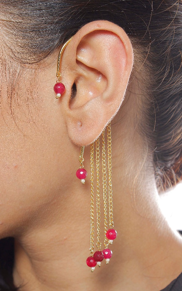 Indian Polki Designer Gold Plated Ear Cuff For Women/ Girls