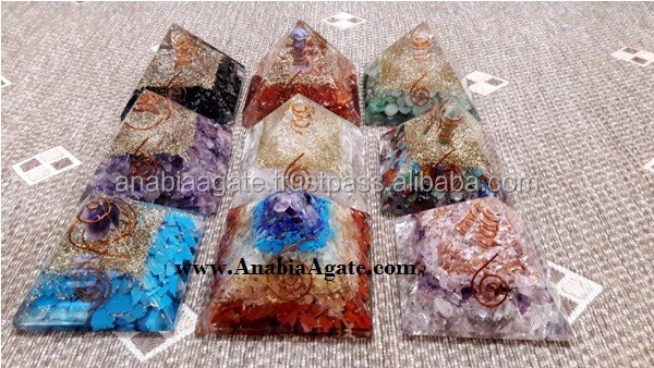 7 Chakra Gemstone Layered Orgone Pyramid : Wholesale Spiritual Orgone Products