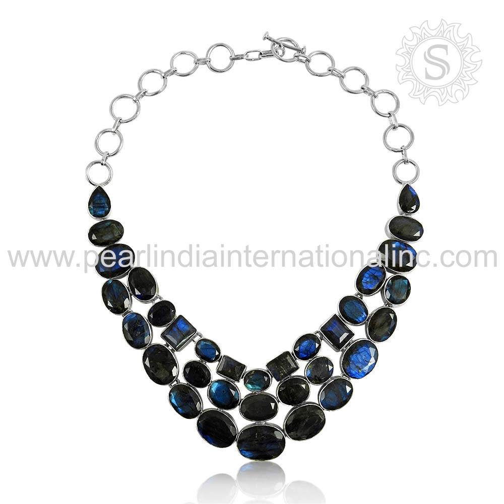 High Quality Blue Labradorite Gemstone Silver Necklace Jewellery Handmade Silver Jewelry 925 Sterling Silver Exporters