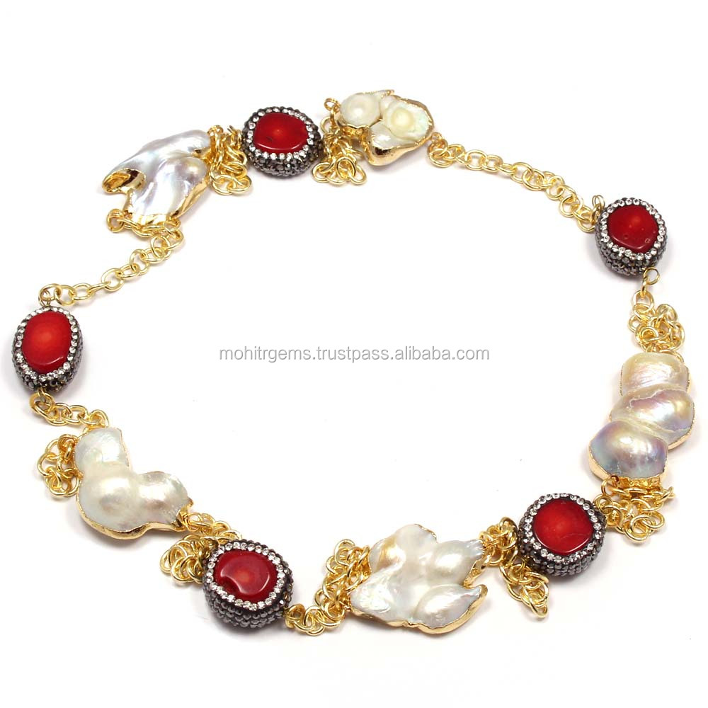 Coral Turkish Stone With Baroque Pearl Long Endless Jewelry Necklace