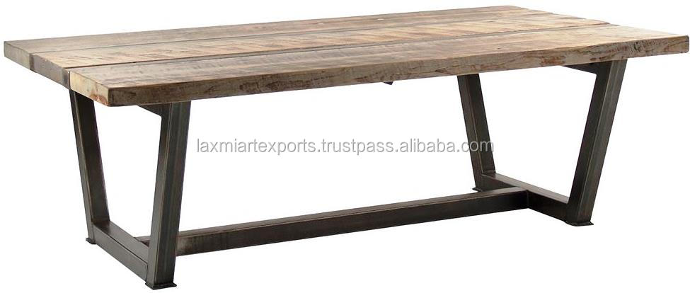 Folded Reclaimed Wooden Top Dining Table With Metal Leg
