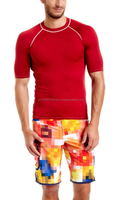 crew neck body fitted rashguard red color skin protected from the sun