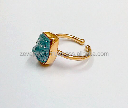 Latest Rough Aquamarine Stone 24k Gold Plated Silver Adjustable Ring for Men Womens Girls, Bulk Wholesale Jewelry 2017 ZJ1291