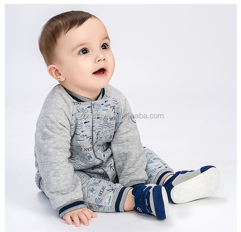 50%cotton and 50% polyester long sleeve winter kids romper